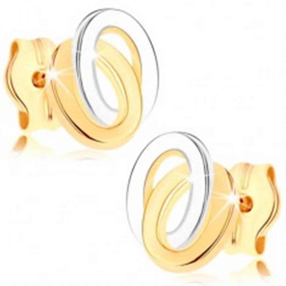 Šperky eshop Puzetové náušnice zo žltého 9K zlata - dvojfarebné prepojené elipsy