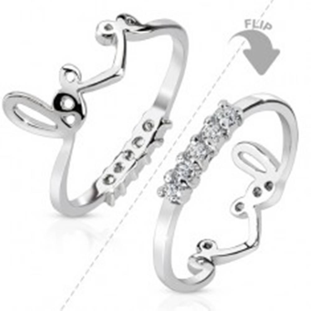 """Šperky eshop Ródiovaný prsteň striebornej farby, obojstranný, línia čírych zirkónov, nápis """"love"""" - Veľkosť: 44 mm"""