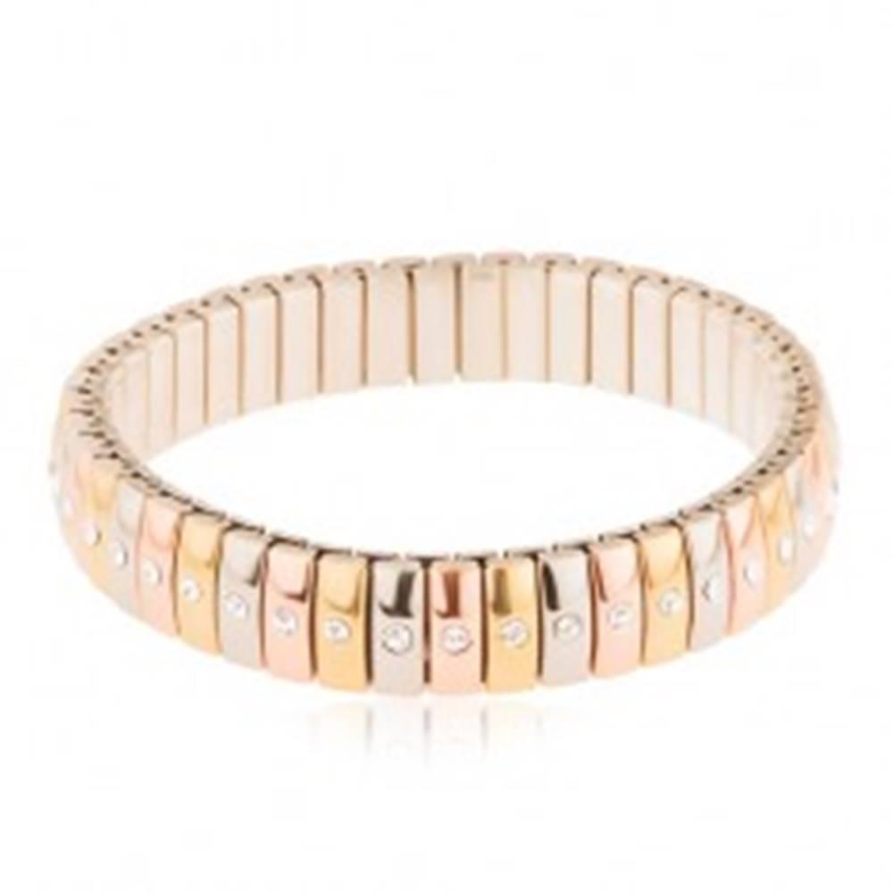 Šperky eshop Rozťahovací oceľový náramok, trojfarebné články so vsadenými čírymi zirkónmi