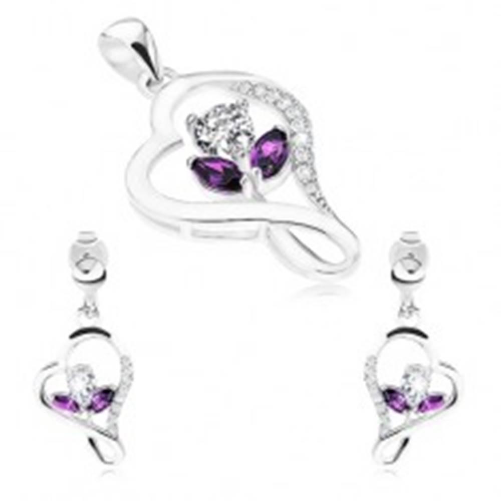 Šperky eshop Sada zo striebra 925, náušnice a prívesok, kontúra srdca, zirkónový kvet
