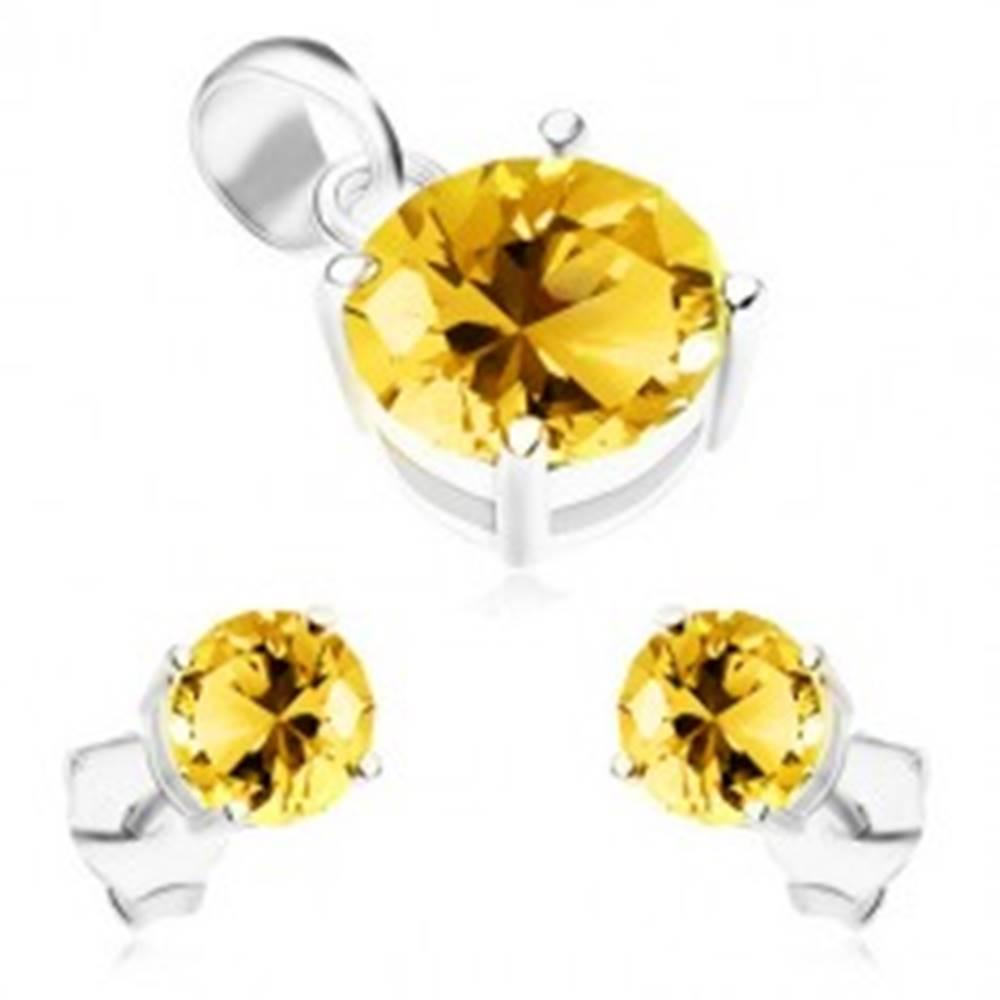 Šperky eshop Sada zo striebra 925, náušnice a prívesok, okrúhle ligotavé zirkóny žltej farby