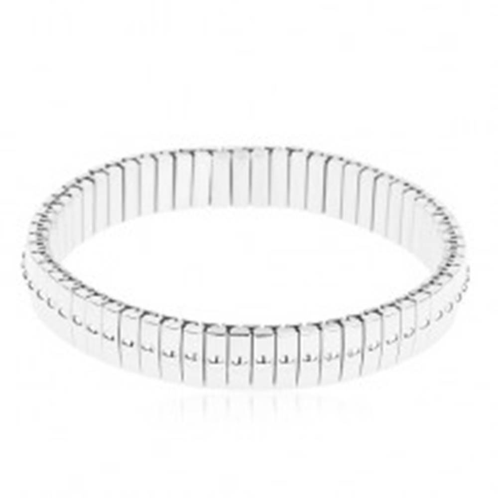 Šperky eshop Strečový náramok z ocele 316L, strieborná farba, úzke články s bodkami