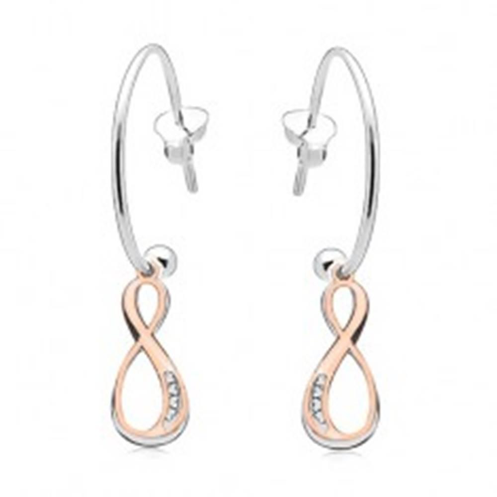 Šperky eshop Strieborné náušnice 925, INFINITY symboly striebornej a medenej farby, kruh