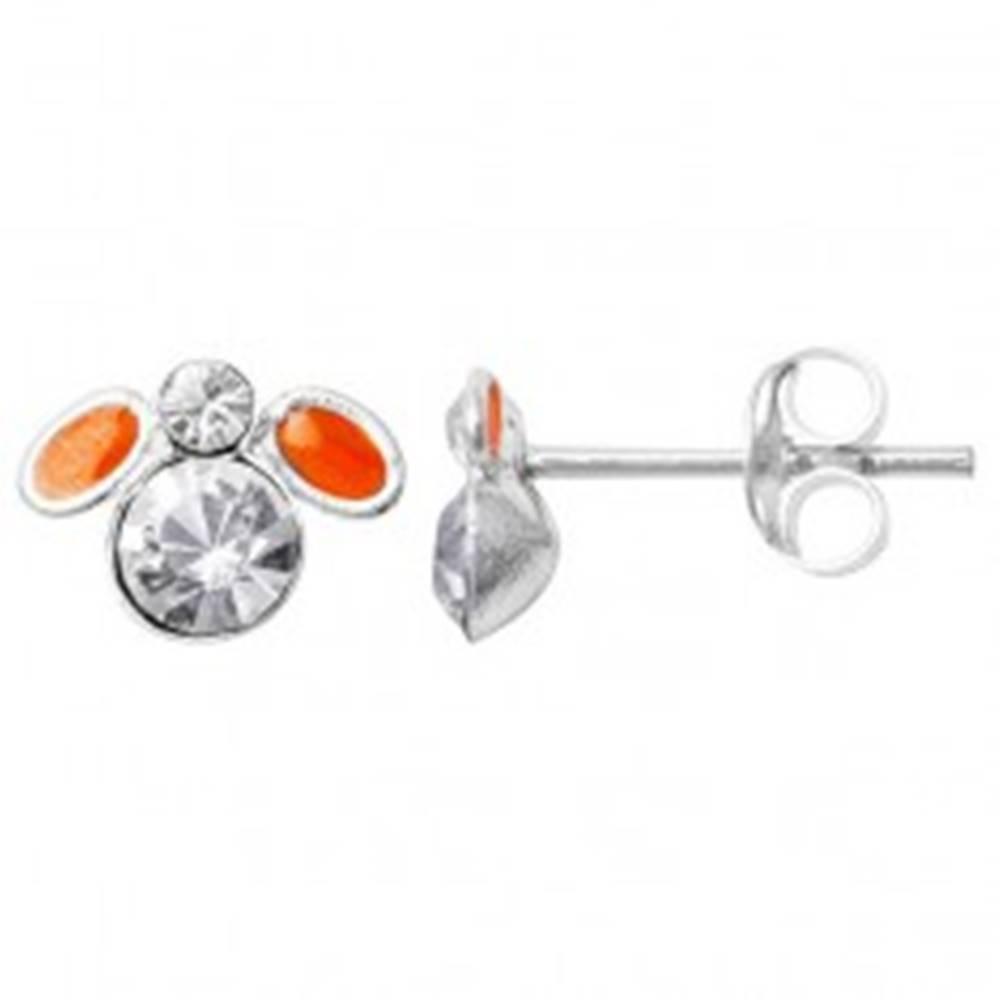 Šperky eshop Strieborné náušnice 925 - oranžová muška s čírymi zirkónmi