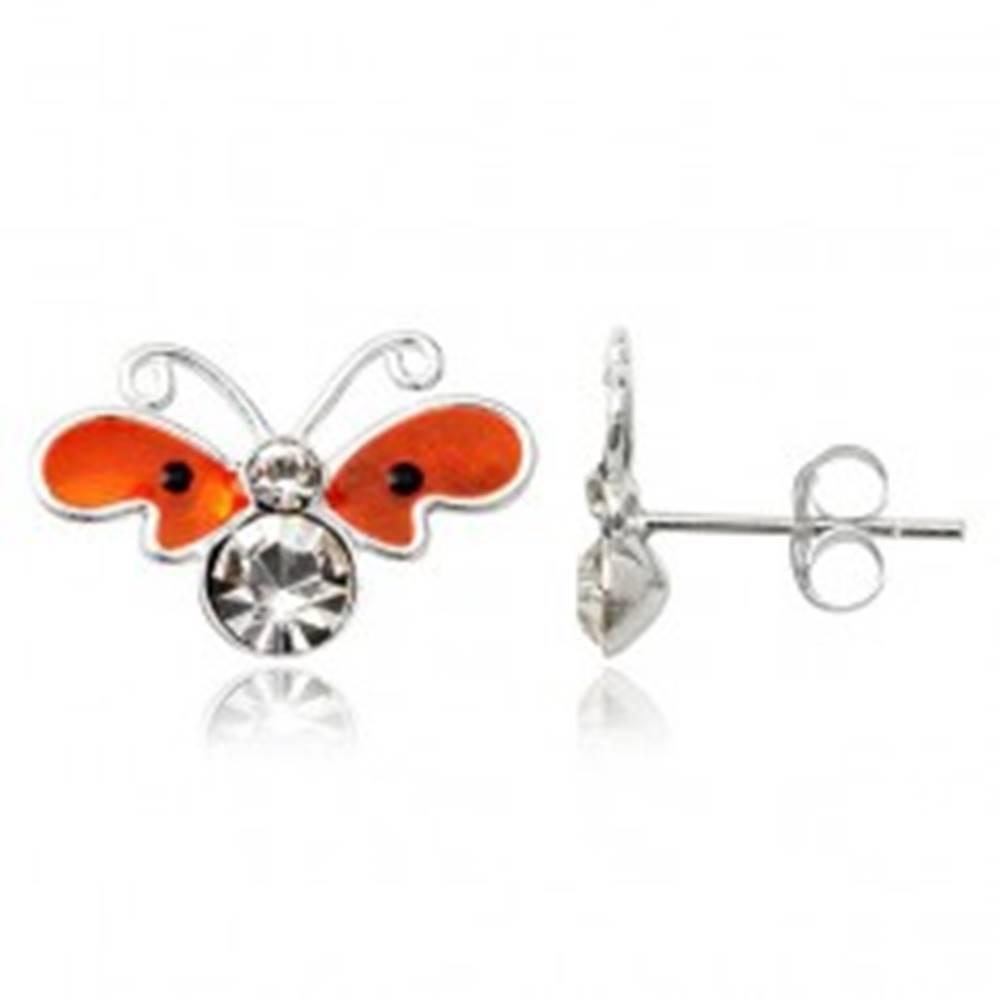 Šperky eshop Strieborné puzetové náušnice 925 - plochý oranžový motýľ, zirkóny