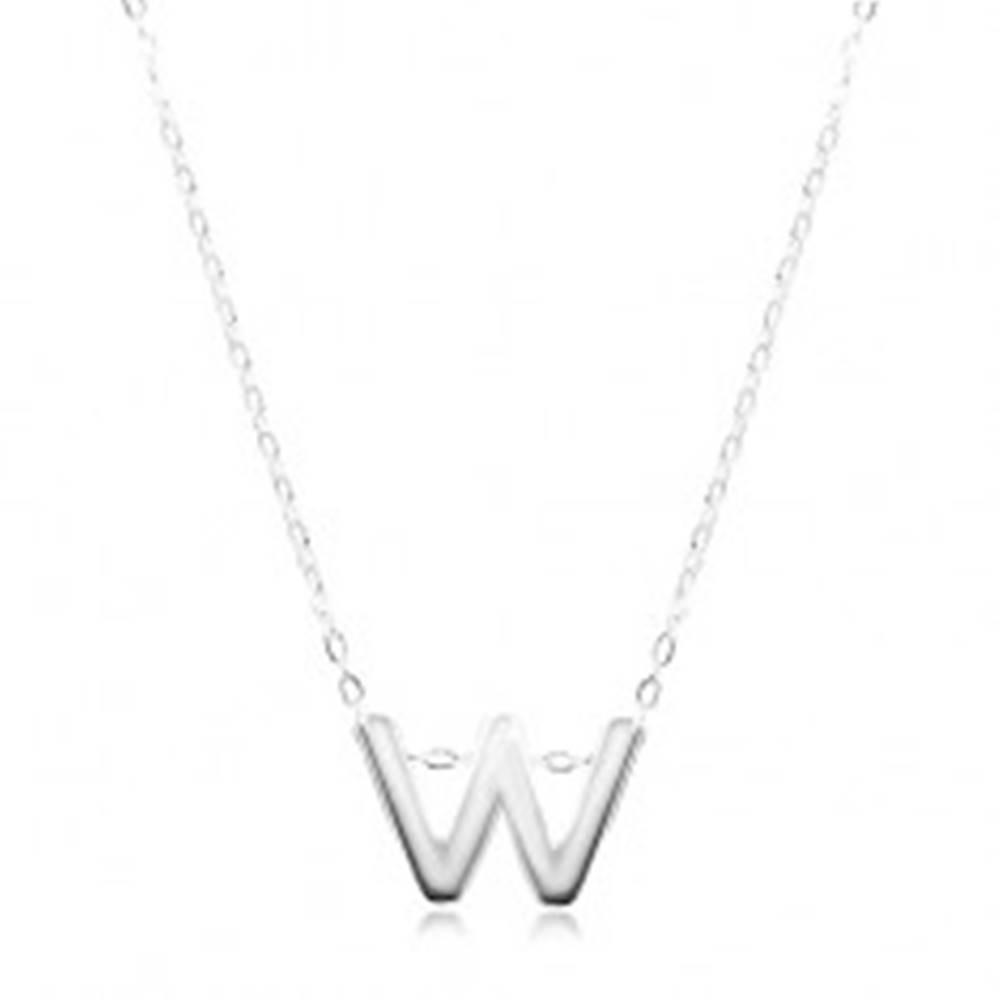 Šperky eshop Strieborný 925 náhrdelník, lesklá retiazka, veľké tlačené písmenko W
