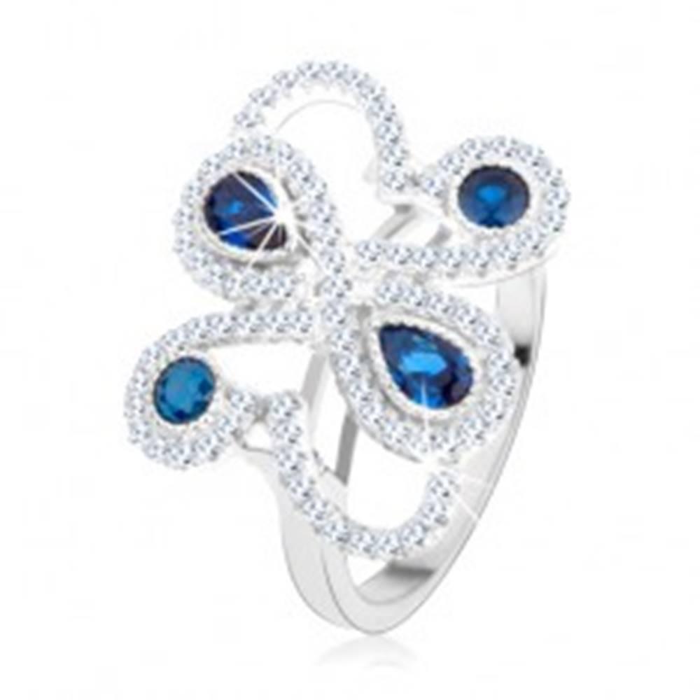 Šperky eshop Strieborný 925 prsteň, trblietavé ornamenty, tmavomodré zirkóny - Veľkosť: 49 mm