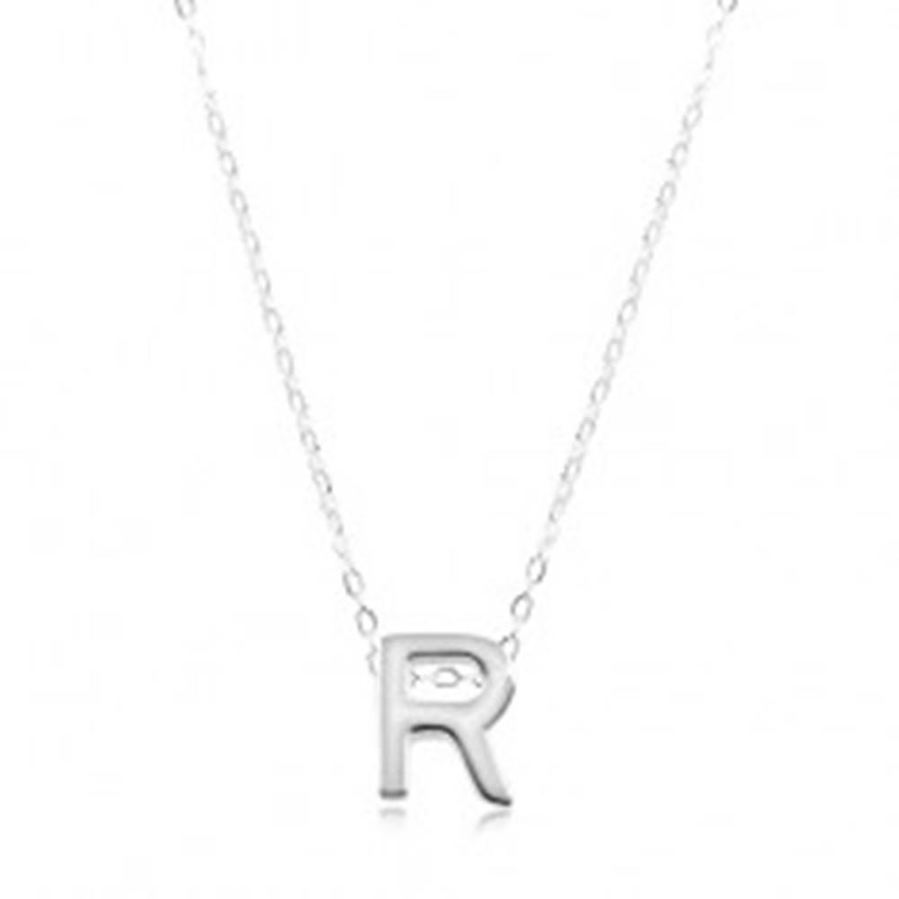 Šperky eshop Strieborný náhrdelník 925, lesklá retiazka, veľké tlačené písmeno R