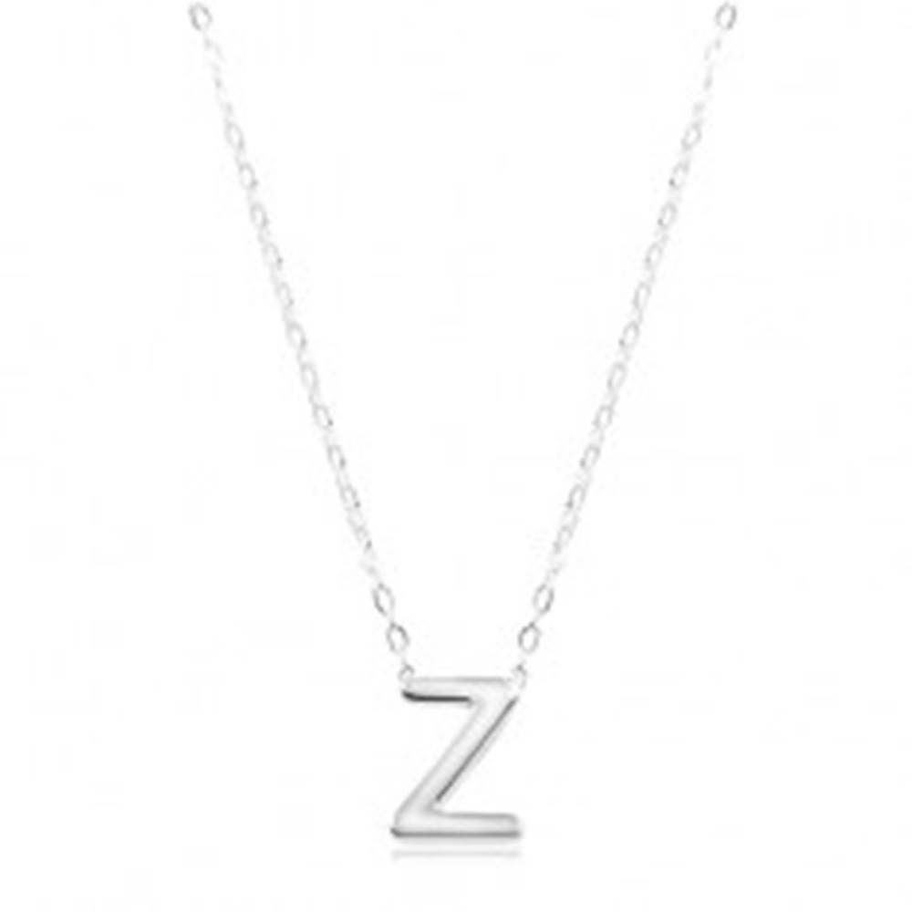 Šperky eshop Strieborný náhrdelník 925, lesklá retiazka, veľké tlačené písmeno Z