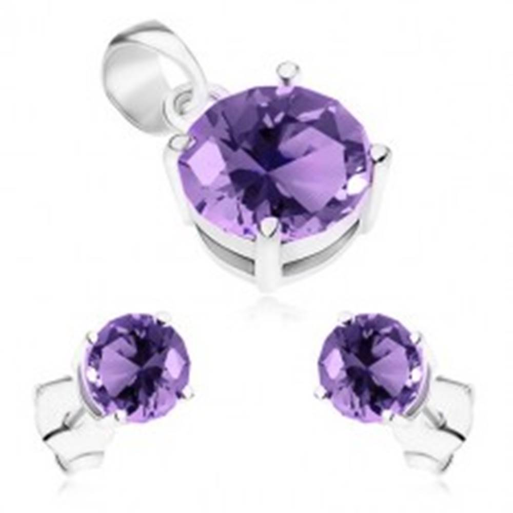 Šperky eshop Strieborný set 925, prívesok a náušnice, okrúhle ligotavé zirkóny fialovej farby
