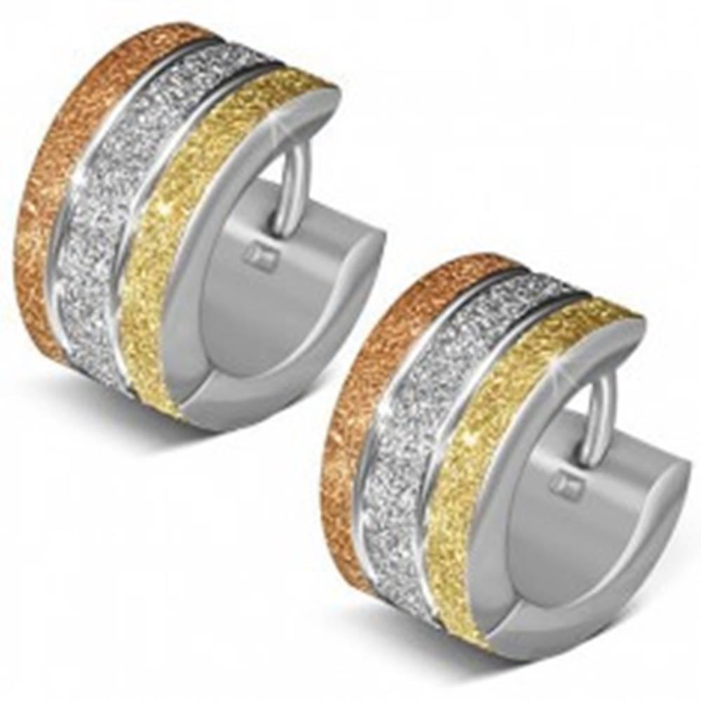 Šperky eshop Trojfarebné náušnice z ocele 316L, ligotavý pieskovaný povrch, dva lesklé pásy