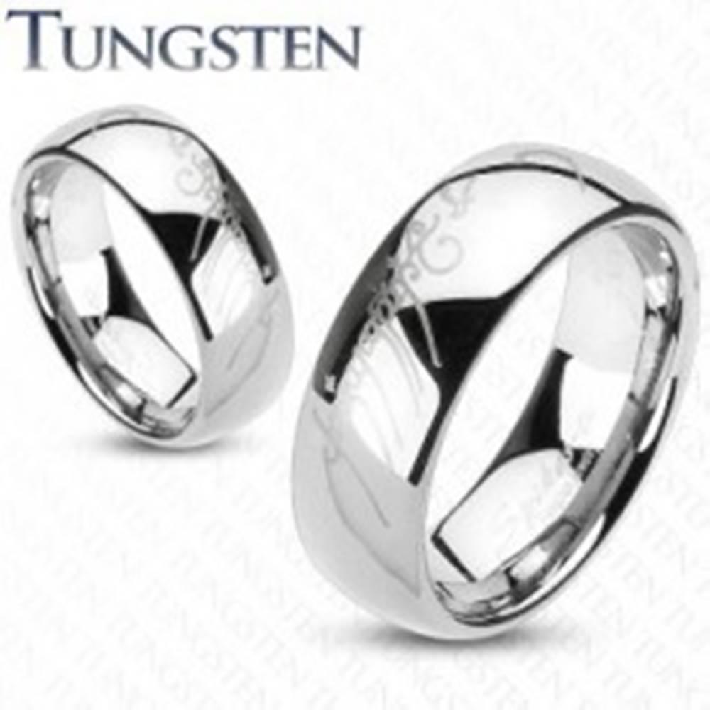 Šperky eshop Tungstenová obrúčka striebornej farby, motív Pána prsteňov, 6 mm - Veľkosť: 49 mm