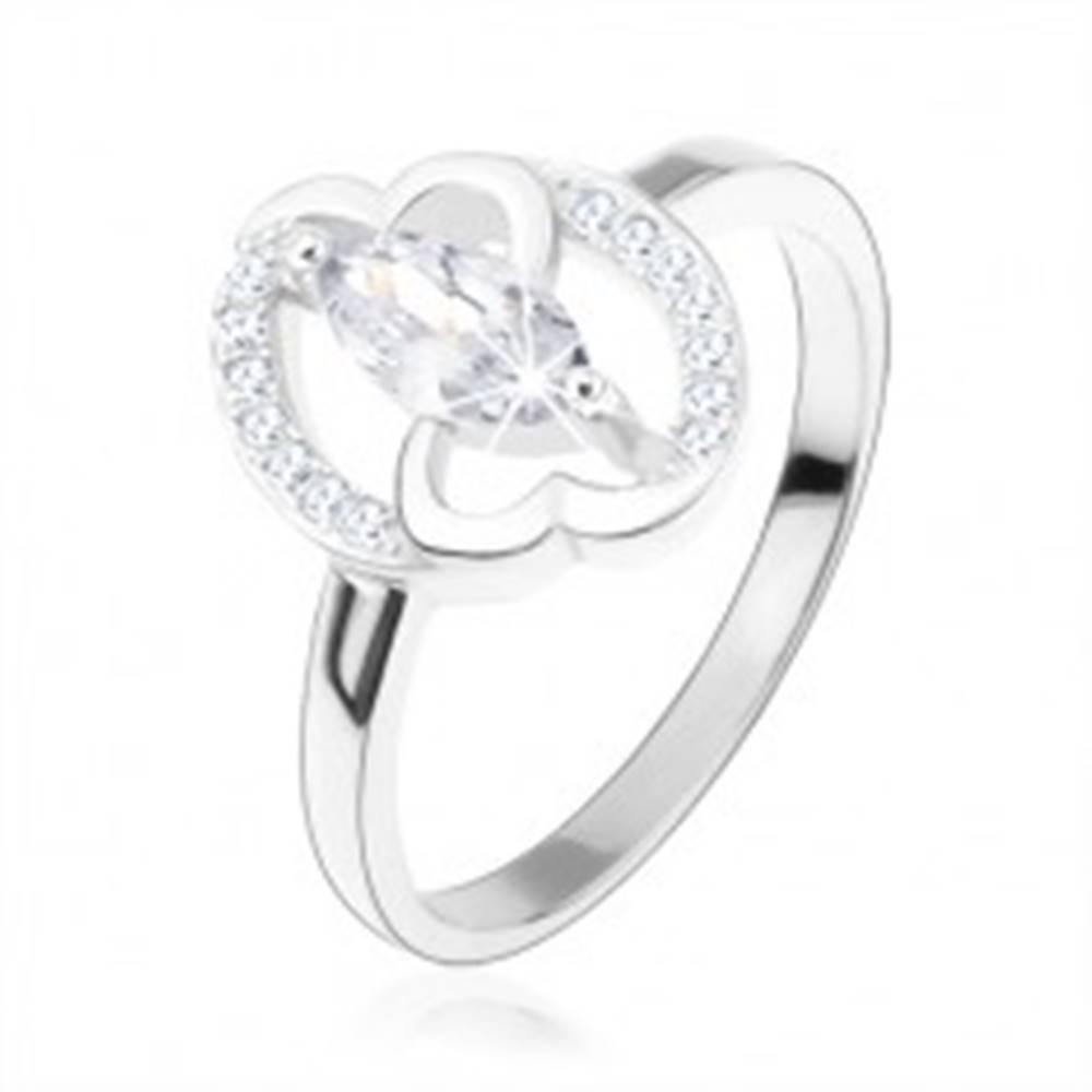 Šperky eshop Zásnubný prsteň, striebro 925, číre zirkónové zrnko, prepojené srdcia - Veľkosť: 49 mm
