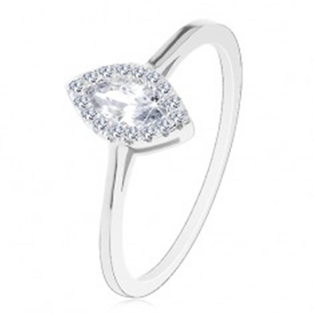 Šperky eshop Zásnubný prsteň, striebro 925, číre zirkónové zrnko s trblietavou obrubou - Veľkosť: 49 mm