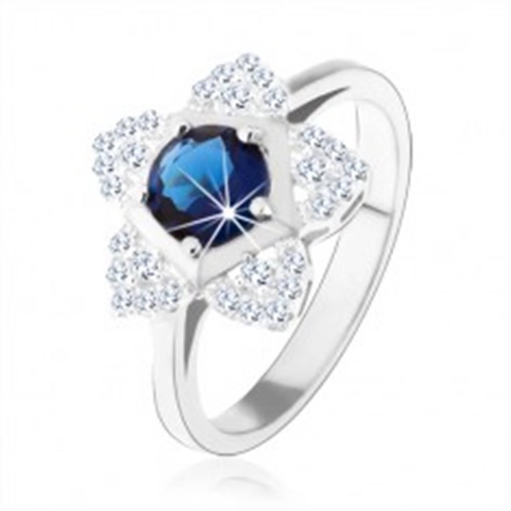 Šperky eshop Zásnubný prsteň, striebro 925, ligotavý kvietok, okrúhly modrý zirkón - Veľkosť: 49 mm