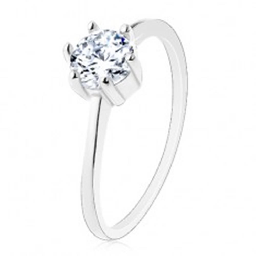 Šperky eshop Zásnubný prsteň zo striebra 925, úzke ramená, okrúhly zirkón v čírom odtieni - Veľkosť: 50 mm