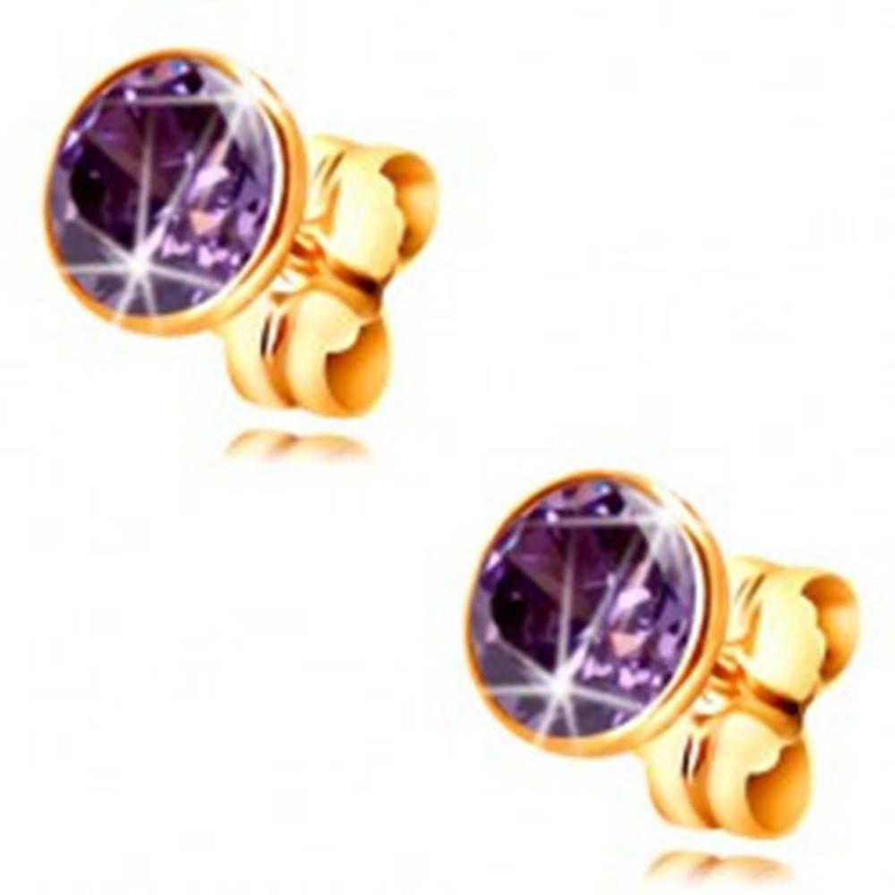 Šperky eshop Zlaté 14K náušnice - okrúhly zirkón tmavofialovej farby objímke, 5 mm