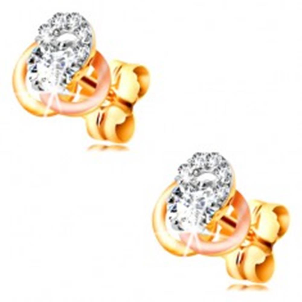 Šperky eshop Zlaté 14K náušnice - trojfarebný uzol z obručí, okrúhle číre zirkóny