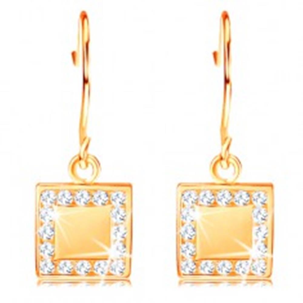 Šperky eshop Zlaté diamantové náušnice 585 - plochý štvorec s čírymi briliantmi po obvode