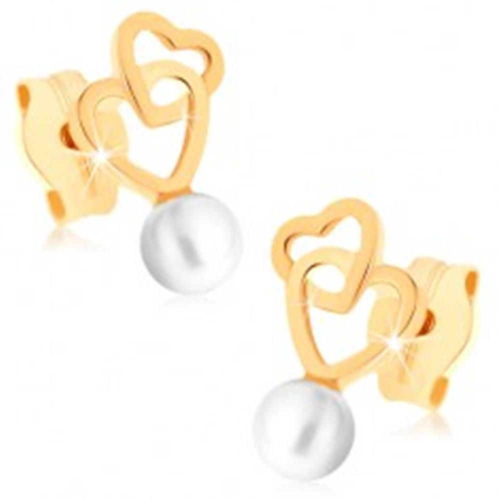 Šperky eshop Zlaté náušnice 375 - dva prepojené obrysy sŕdc, guľatá biela perlička