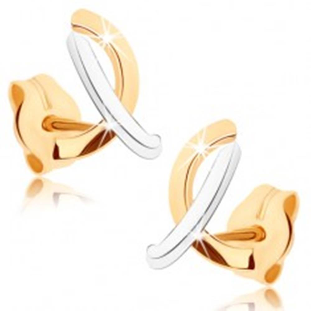 Šperky eshop Zlaté náušnice 375 - lesklé prekrížené oblúčiky v dvoch odtieňoch