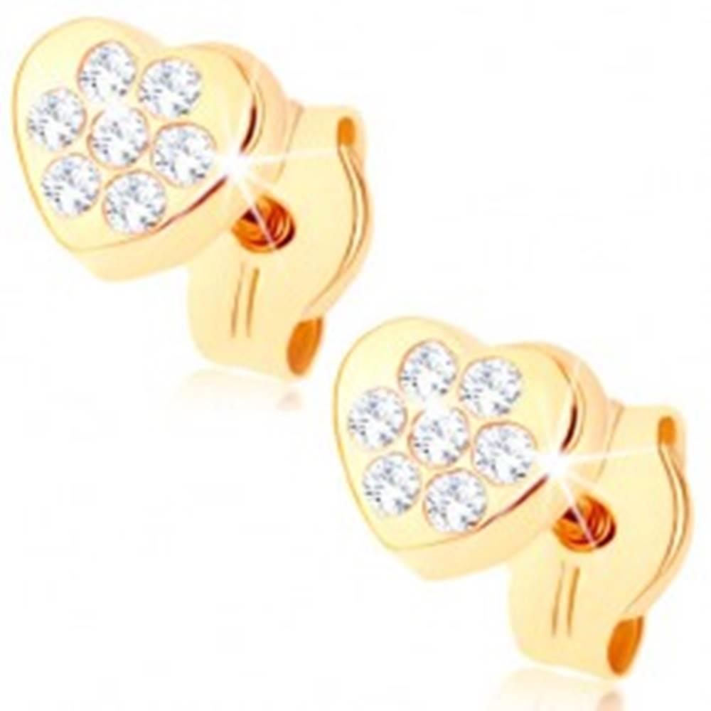 Šperky eshop Zlaté náušnice 375 - malé ligotavé srdiečko, drobné číre zirkóniky