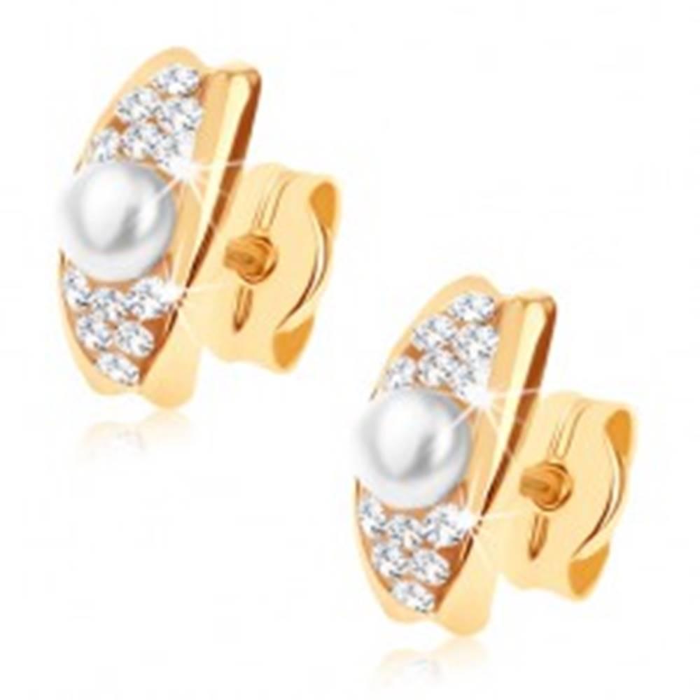 Šperky eshop Zlaté náušnice 375 - oblúčik zdobený Swarovského krištálikmi a bielou perlou