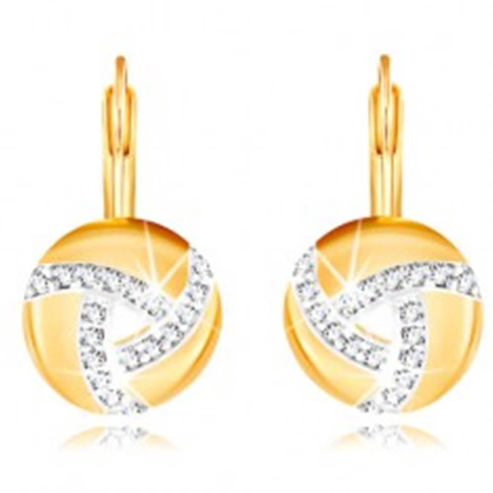 Šperky eshop Zlaté náušnice 585 - kruh so zirkónovými líniami a výrezom v strede