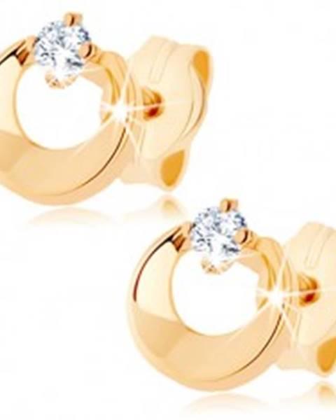 Šperky eshop Náušnice v žltom 9K zlate - kruh s výrezom a čírym zirkónom, vysoký lesk