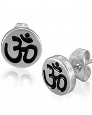 Puzetové oceľové náušnice s hinduistickým symbolom ÓM
