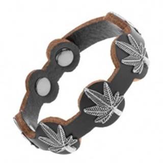 Kožený náramok čiernej farby, patinované listy marihuany z ocele