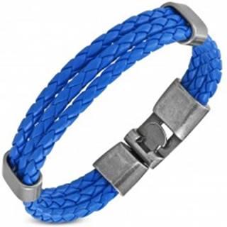 Modrý náramok, tri úzke zapletené pásiky z umelej kože, pohyblivé ovály