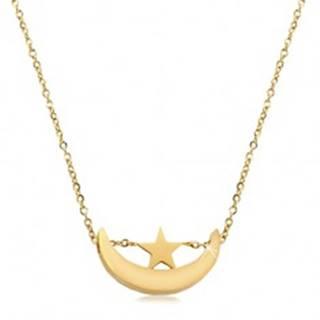 Náhrdelník v zlatom odtieni, chirurgická oceľ, lesklý cíp mesiaca a hviezdička