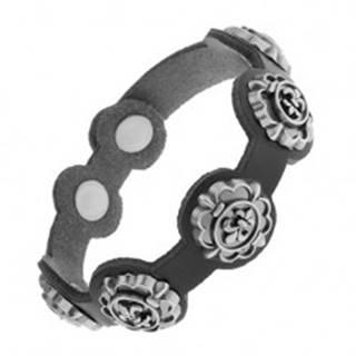 Náramok z čiernej syntetickej kože, patinované symboly Fleur de Lis