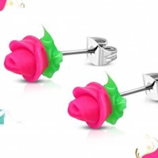 Náušnice z chirurgickej ocele, neónovo ružová silikónová ružička, zelené lístky