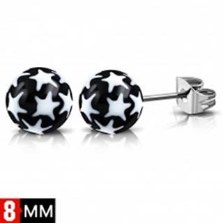Náušnice z ocele 316L, čierno-biele guličky s hviezdičkami