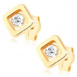 Náušnice zo žltého 9K zlata - číry zirkónik vložený v obryse štvorca