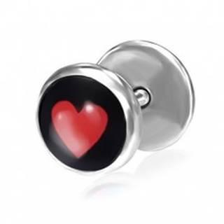 Oceľový falošný piercing do ucha so srdcom