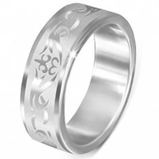 Oceľový prsteň - matný s lesklým kmeňovým vzorom - Veľkosť: 54 mm