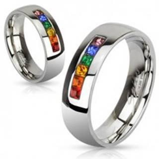 Oceľový prsteň s rôznofarebnými zirkónmi - Veľkosť: 49 mm