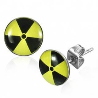 Okrúhle oceľové náušnice - žltočierny nukleárny symbol