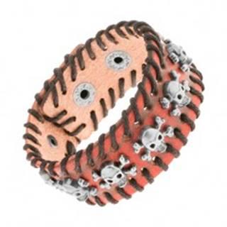 Oranžovohnedý kožený náramok, čierna prepletená šnúrka, lebky