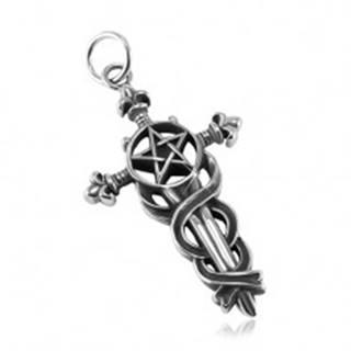 Patinovaný prívesok, oceľ 316L, veľký ľaliový kríž s hadmi, pentagram