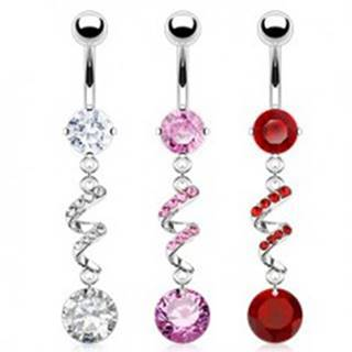 Piercing do brucha - špirála, zirkóny, strieborná farba - Farba zirkónu: Červená - R