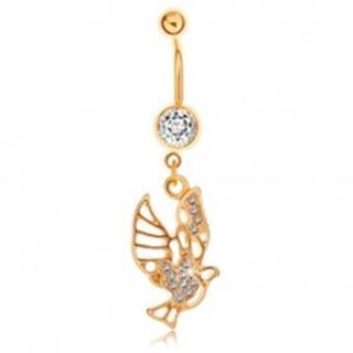 Piercing do bruška zlatej farby, vták zdobený výrezmi a čírymi zirkónmi