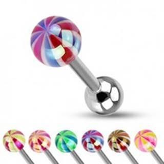 Piercing do jazyka - farebná gulička s perleťovým leskom - Farba piercing: Čierná - Červená
