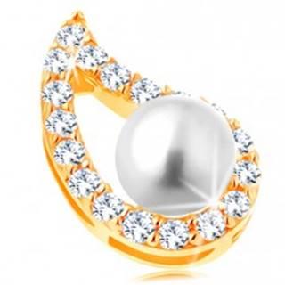 Prívesok v žltom 14K zlate - asymetrický obrys kvapky, číre zirkóny, perla