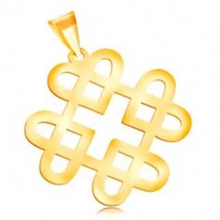 Prívesok v žltom 14K zlate - lesklý ornament zo štyroch kontúr srdiečok