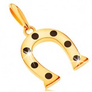 Prívesok v žltom 14K zlate, symbol šťastia - podkovička s čiernymi bodkami