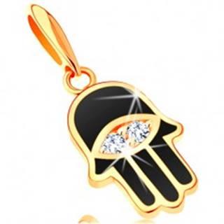 Prívesok zo žltého 14K zlata - ruka Fatimy pokrytá čiernou glazúrou, oko
